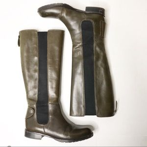 Franco Sarto Olive Green Leather Riding Boots